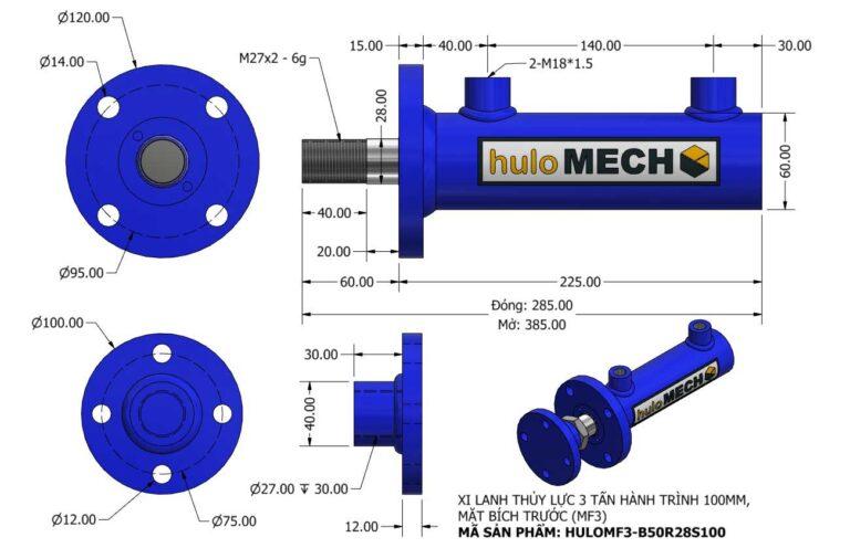 Bản vẽ Xi Lanh Thủy Lực 3 Tấn Mặt Bích Hành Trình 100mm – MF3 (HULO Series) HULOMF3-B50R28S100