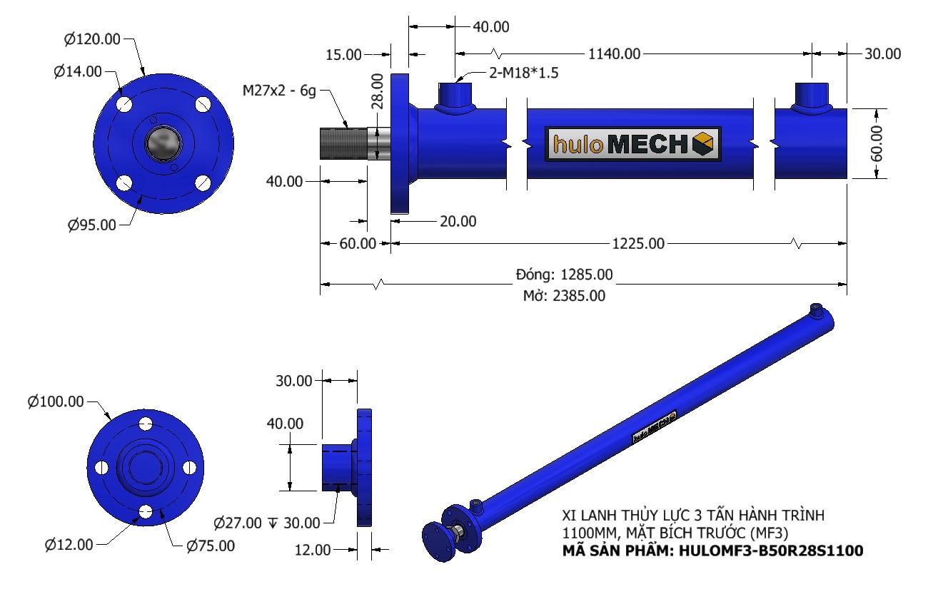 Bản vẽ Xi Lanh Thủy Lực 3 Tấn Mặt Bích Hành Trình 1100mm – MF3 (HULO Series) HULOMF3-B50R28S1100