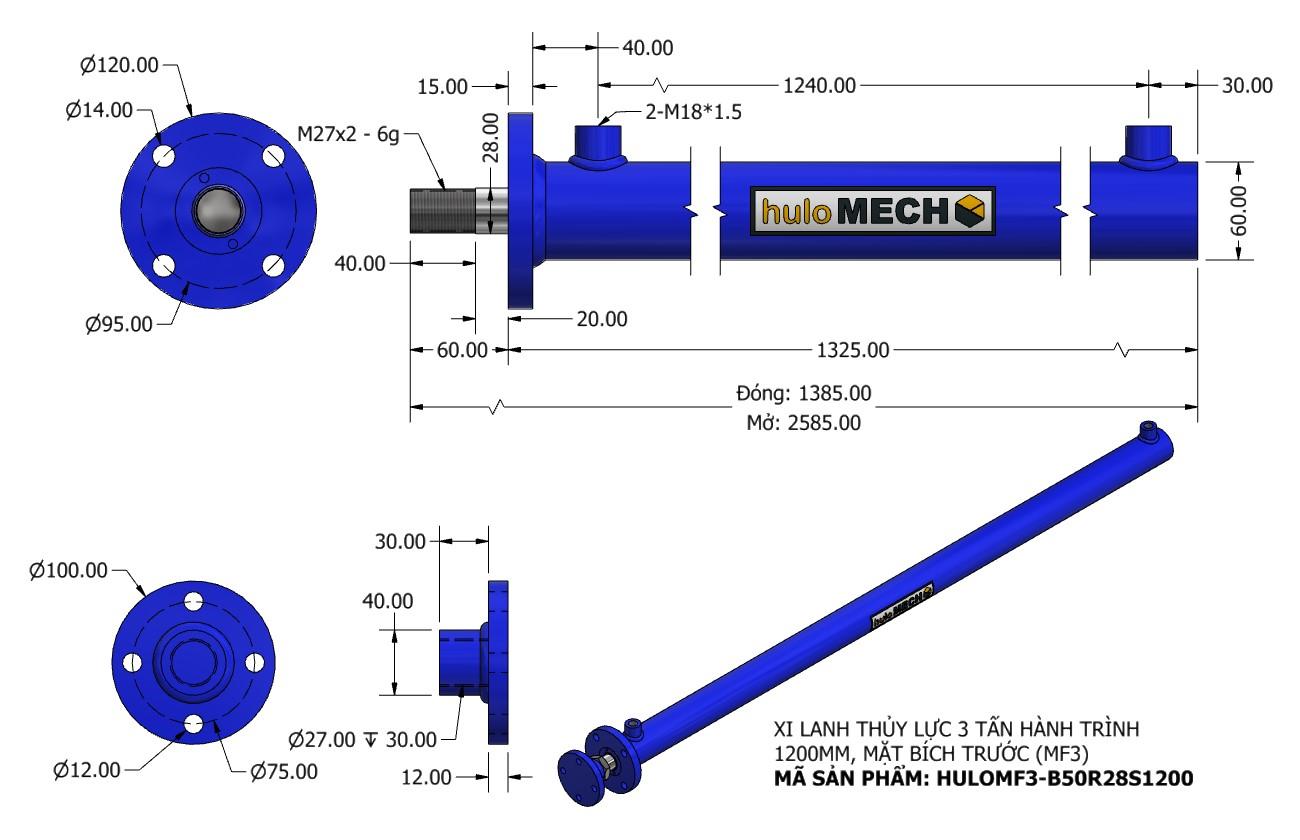 Bản vẽ Xi Lanh Thủy Lực 3 Tấn Mặt Bích Hành Trình 1200mm – MF3 (HULO Series) HULOMF3-B50R28S1200