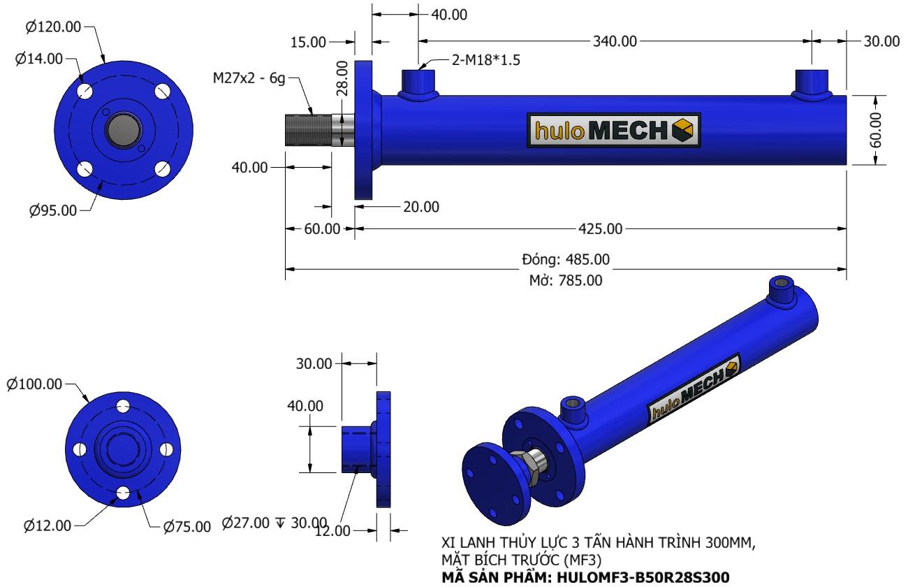 Bản vẽ Xi Lanh Thủy Lực 3 Tấn Mặt Bích Hành Trình 300mm – MF3 (HULO Series) HULOMF3-B50R28S300