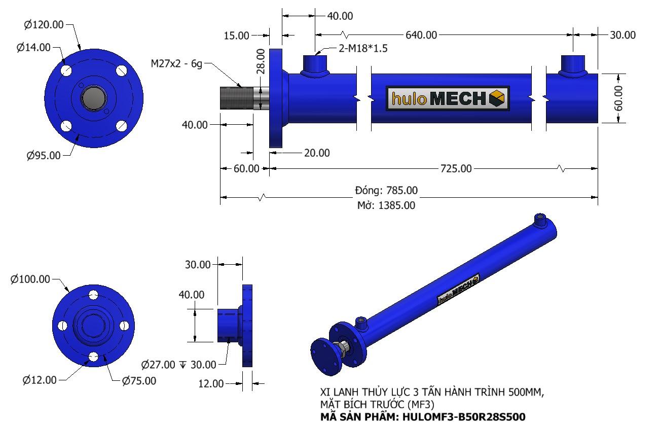 Bản vẽ Xi Lanh Thủy Lực 3 Tấn Mặt Bích Hành Trình 600mm – MF3 (HULO Series) HULOMF3-B50R28S600