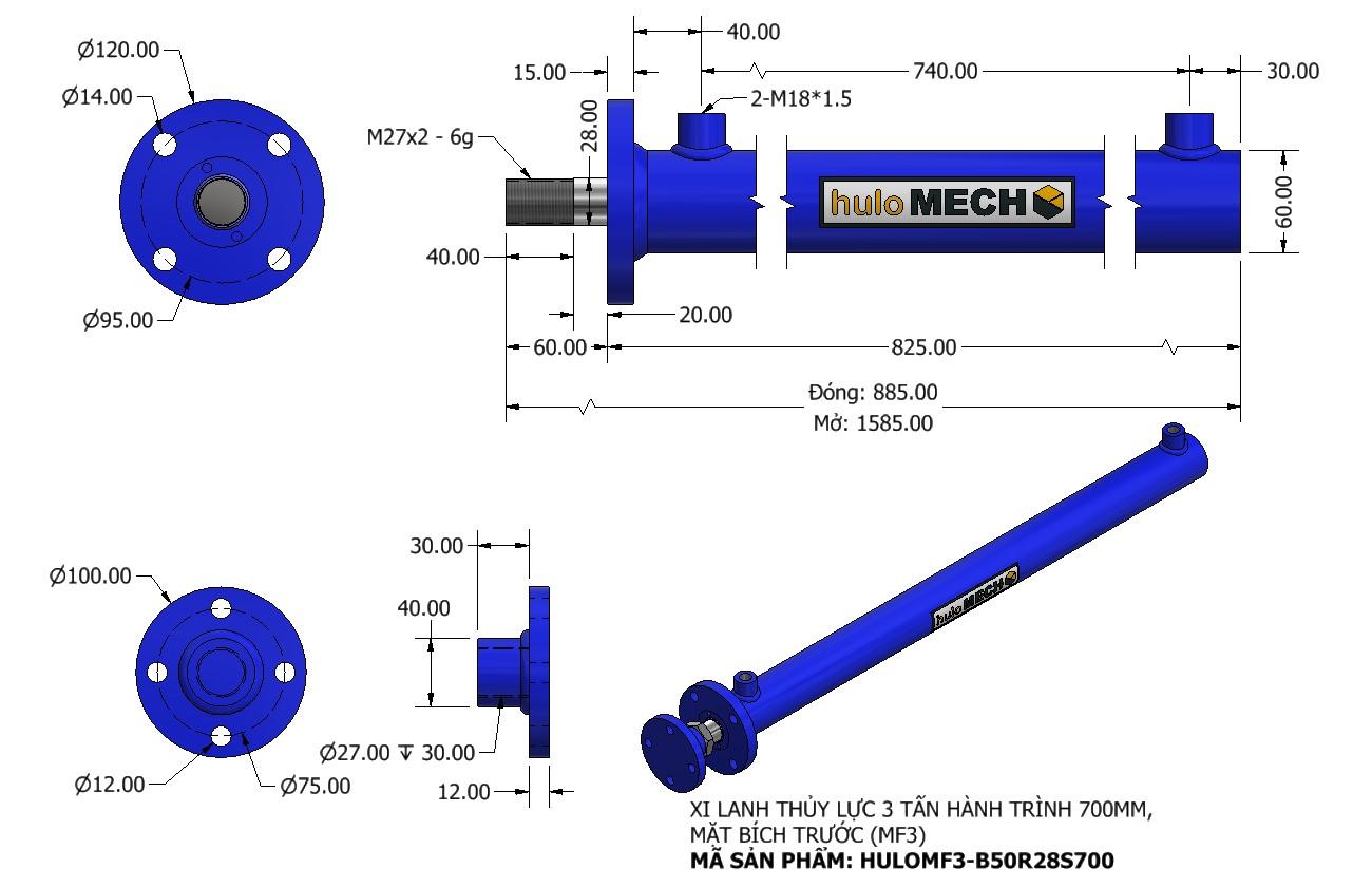 Bản vẽ Xi Lanh Thủy Lực 3 Tấn Mặt Bích Hành Trình 700mm – MF3 (HULO Series) HULOMF3-B50R28S700