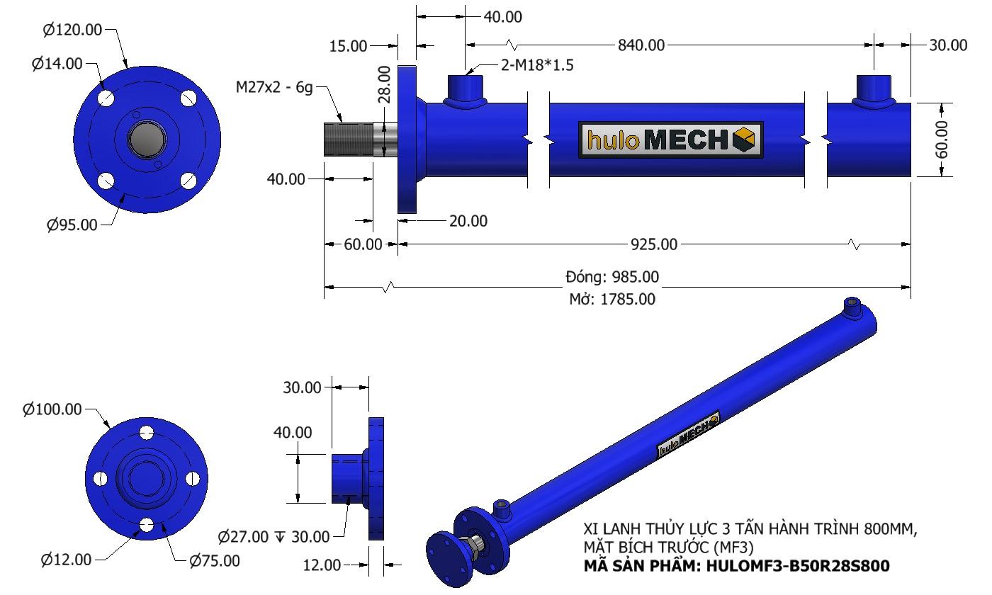 Bản vẽ Xi Lanh Thủy Lực 3 Tấn Mặt Bích Hành Trình 800mm – MF3 (HULO Series) HULOMF3-B50R28S800