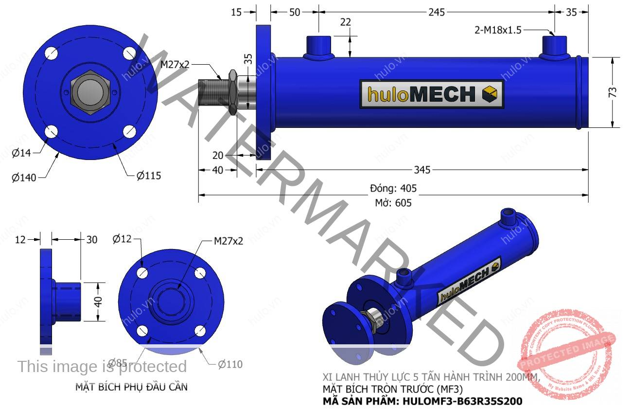 Bản vẽ Xi Lanh Thủy Lực 5 Tấn Mặt Bích Hành Trình 200mm – MF3 (HULO Series) HULOMF3-B63R35S200
