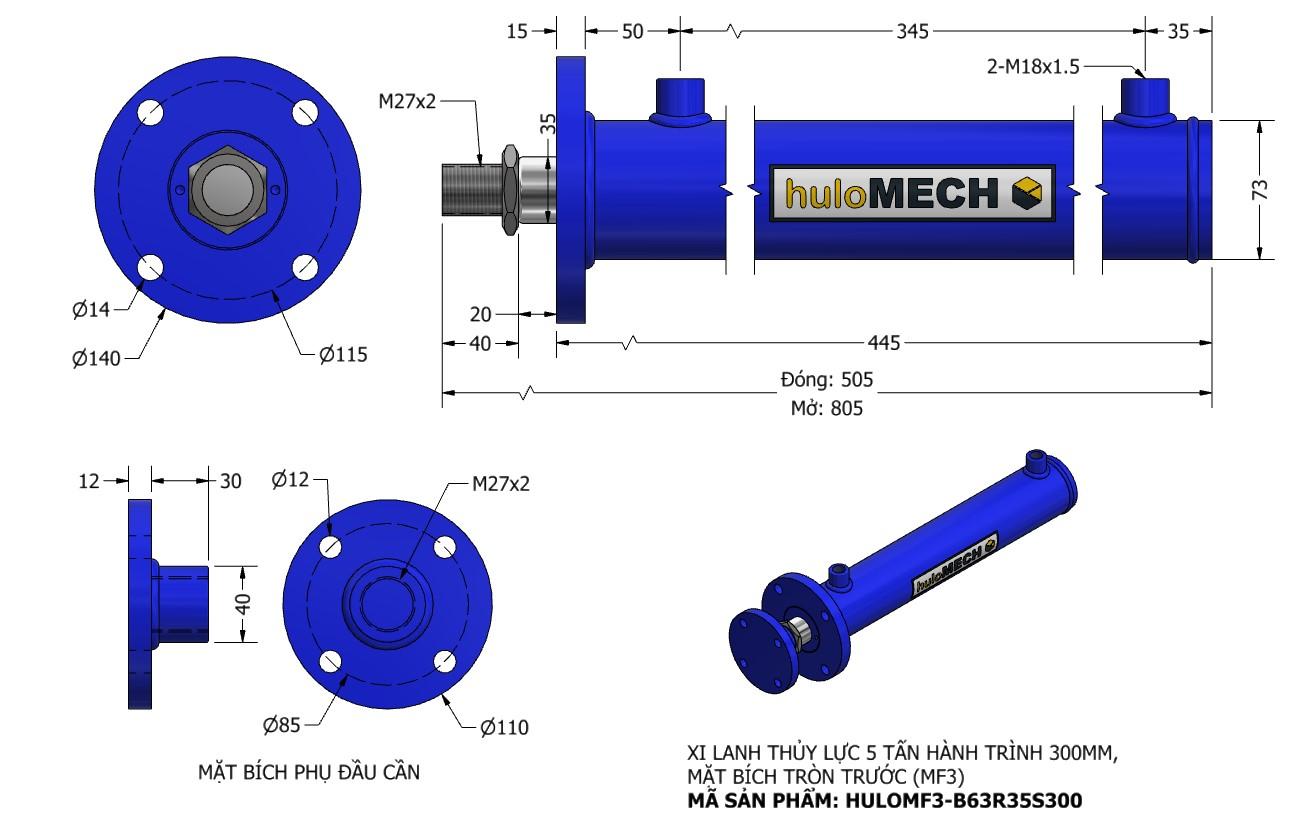 Bản vẽ Xi Lanh Thủy Lực 5 Tấn Mặt Bích Hành Trình 300mm – MF3 (HULO Series) HULOMF3-B63R35S300