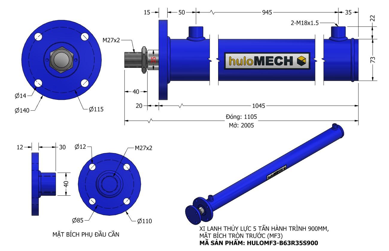 Bản vẽ Xi Lanh Thủy Lực 5 Tấn Mặt Bích Hành Trình 900mm – MF3 (HULO Series) HULOMF3-B63R35S900